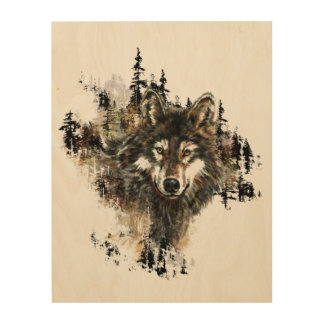 Watercolor Wolf Mountain Animal Nature art