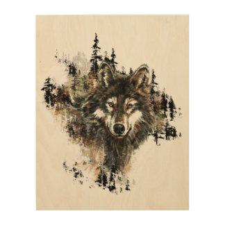 Watercolor Wolf Mountain Animal Nature art Wood Print