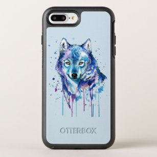 new products 9ad67 e6005 watercolor wolf OtterBox symmetry iPhone 8 plus/7 plus case