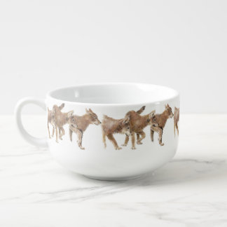 Watercolor Wolf Pups Cubs Animal Nature art Soup Mug