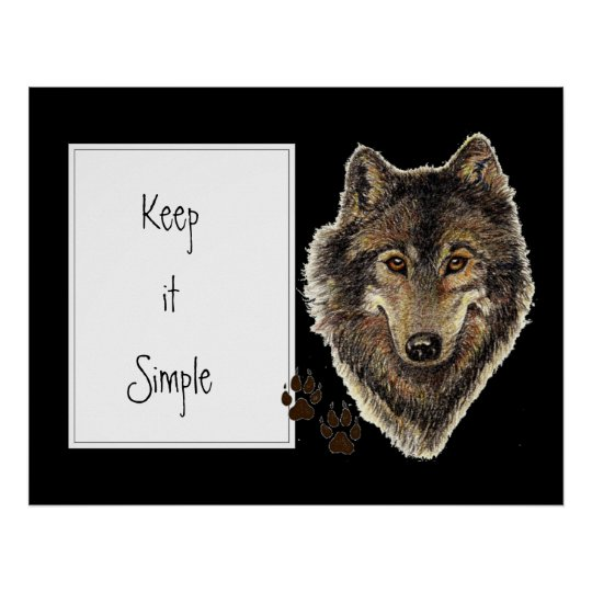"""Watercolor Wolf Quote """"Keep it Simple"""" Poster"""
