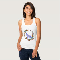 Watercolor Wolf Standing in a Boho Style Wreath Tank Top