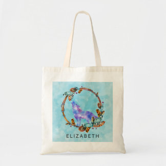 Watercolor Wolf Standing in a Boho Style Wreath Tote Bag