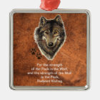 Watercolor Wolf Track Family Quote by Kipling Metal Ornament