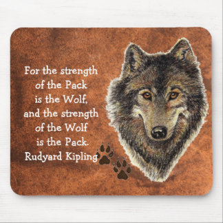 Watercolor Wolf Track Family Quote by Kipling Mouse Pads