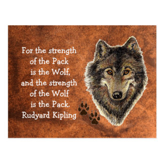 Watercolor Wolf Track Family Quote by Kipling Postcard