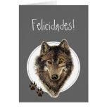 Watercolor Wolf Tracks Felicidades! Birthday Card