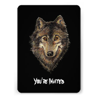 Watercolor Wolves Quote Wild Wolf Birthday Invite