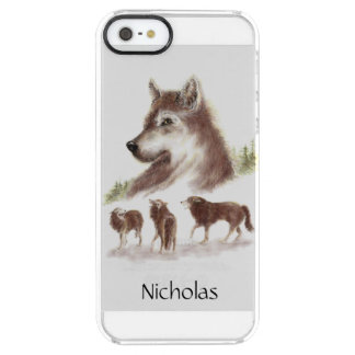 Watercolor Wolves & Wolf Head Custom Name Clear iPhone SE/5/5s Case