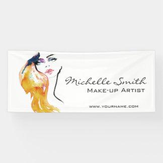 Watercolor woman portrait make up artist branding banner