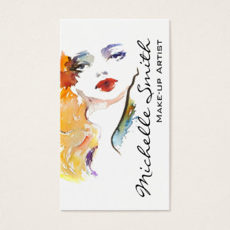 Watercolor woman portrait make up artist branding business card
