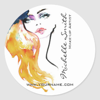 Watercolor woman portrait make up artist branding classic round sticker