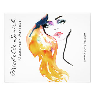 Watercolor woman portrait make up artist branding flyer