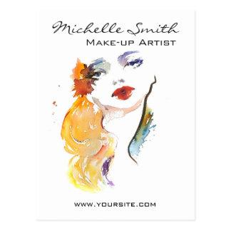 Watercolor woman portrait make up artist branding postcard