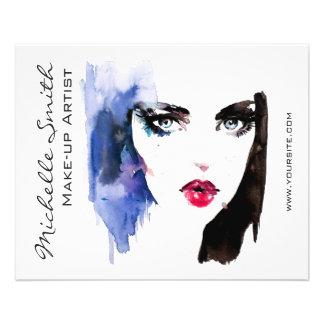 Watercolor woman portrait makeup artist branding flyer