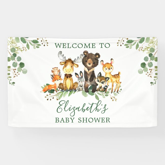 Watercolor Woodland Animals Baby Shower Banner