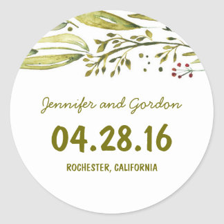 watercolor woodland floral wedding classic round sticker