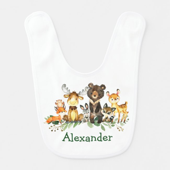 Watercolor Woodland Forest Animals Baby Bib