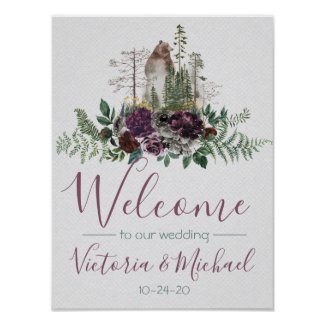 Watercolor Woodland Forest Wedding Sign