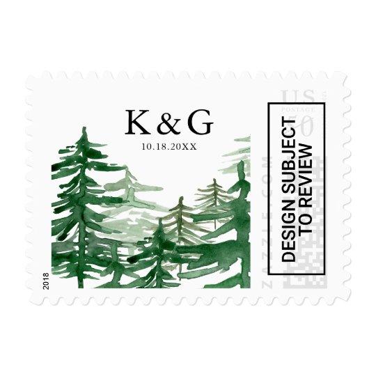 Watercolor Woodland Monogram Wedding Stamp