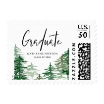 Watercolor Woodland Personalized Graduation Stamp
