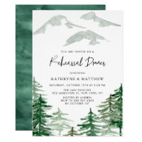 Watercolor Woodland Rehearsal Dinner Invitation