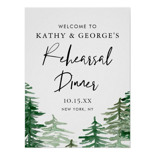 Watercolor Woodland Rehearsal Dinner Welcome Poster