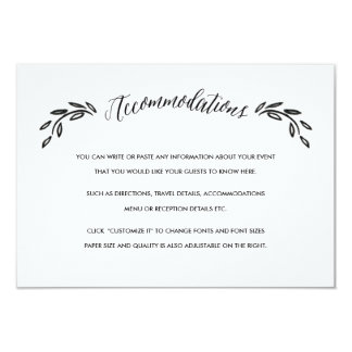 Watercolor Woodland Wedding Accommodations Card