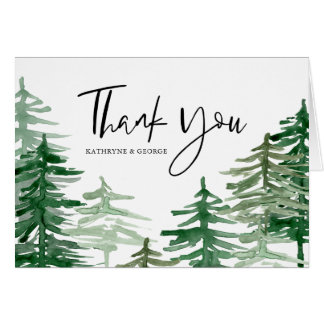 Watercolor Woodland Wedding Thank You Card