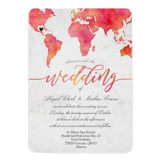 Watercolor World Map Destination Wedding Invitatio Card