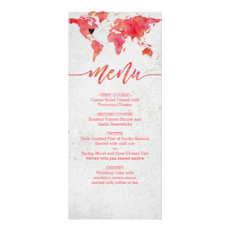 Watercolor World Map Destination Wedding Menu