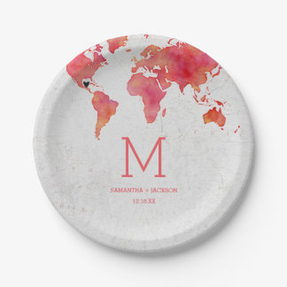 Watercolor World Map Destination Wedding Monogram Paper Plate