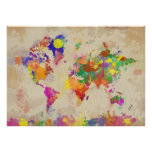 Watercolor World Map on Old Canvas Poster
