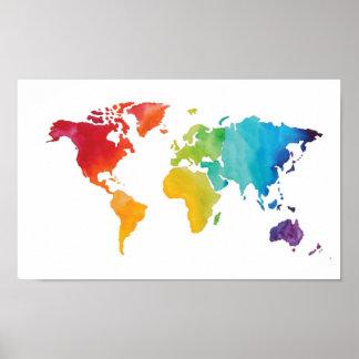 Watercolor World Map - Original Watercolor Print