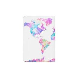 Watercolor World Map Passport Holder