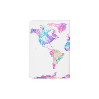 Watercolor World Map Passport Holder