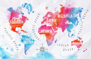 Pink World Map Posters Photo Prints Zazzle - Pink world map poster