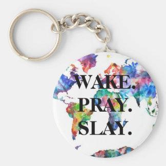 Watercolor World Map - Wake. Pray. Slay. Keychain