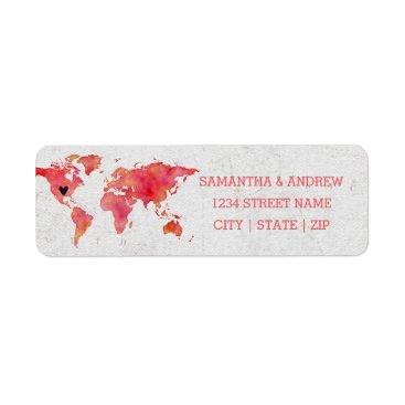 Valentines Themed Watercolor World Map Wedding Return Address Label