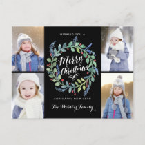 Watercolor Wreath 4 Photo Christmas Black Holiday Postcard