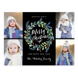 Watercolor Wreath 4 Photo Christmas Black Postcard