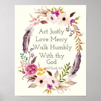 Watercolor wreath bible verse wall art poster