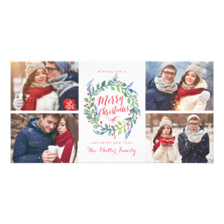 Watercolor Wreath Collection 4 Photo Holiday Card