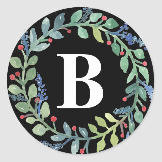 Watercolor Wreath Collection Classic Round Sticker