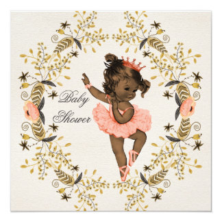 Watercolor Wreath Ethnic Ballerina Baby Shower Card