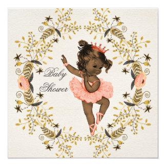 """Watercolor Wreath Ethnic Ballerina Baby Shower 5.25"""" Square Invitation Card"""