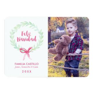 Watercolor Wreath Feliz Navidad Photo Card