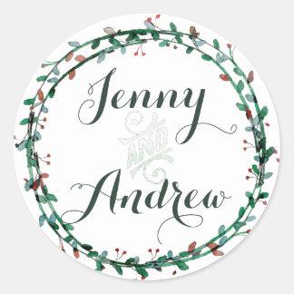 Watercolor Wreath, Hunter Green Classic Round Sticker