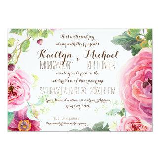Watercolor Wreath Leaf Branch Berries Rose Peony Card