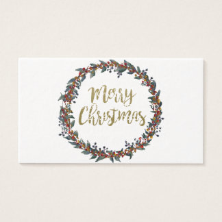 Watercolor wreath - merry christmas - branches business card